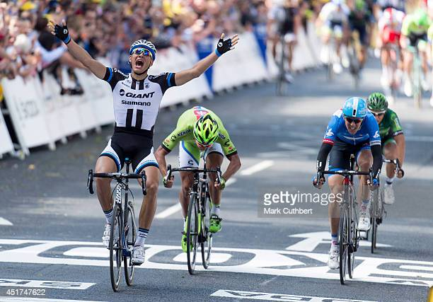 Marcel Kittel crosses the finish line to win stage one of The Tour de France on July 5 2014 in Harrogate England