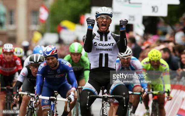 Marcel Kittel GiantShimano celebrates as he crosses the finish line to win Stage two of the 2014 Giro D'Italia in Belfast