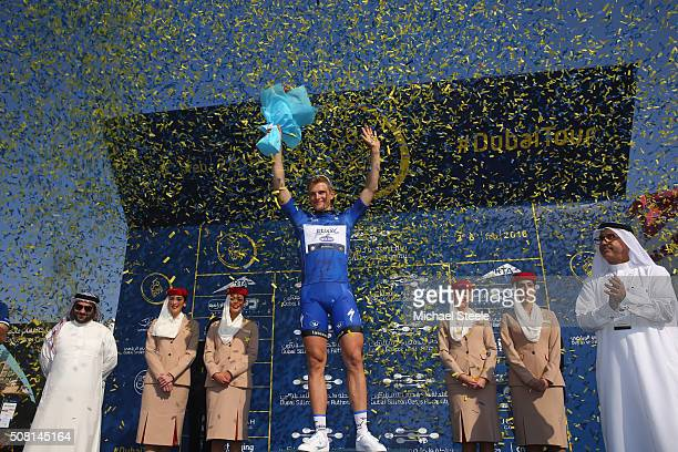 Marcel Kittel of Etixx Quick Step celebrates the stage victory during the Dubai Silicon Oasis Stage One of the Tour of Dubai on February 3 2016 in...