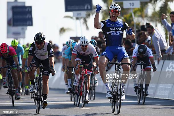 Marcel Kittel of Etixx Quick Step celebrates victory from Mark Cavendish of Dimension Data during the Dubai Silicon Oasis Stage One of the Tour of...