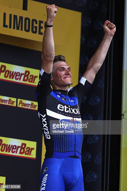 Marcel Kittel of Germany and Etixx Quick Step celebrates his stage win on the podium during stage four of Le Tour de France from Saumar to Limoges on...