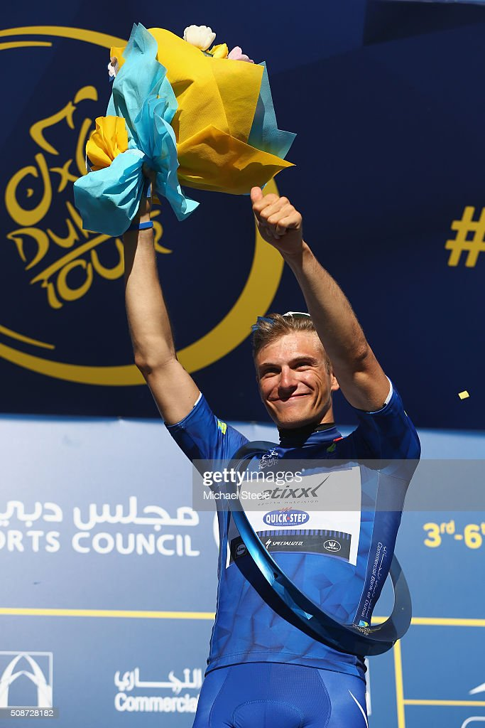 <a gi-track='captionPersonalityLinkClicked' href=/galleries/search?phrase=Marcel+Kittel&family=editorial&specificpeople=4520423 ng-click='$event.stopPropagation()'>Marcel Kittel</a> of Germany and Etixx Quick Step celebrates the stage win and overall GC victory during the podium presentations following the Business Bay Stage Four of the Tour of Dubai on February 6, 2016 in Dubai, United Arab Emirates.