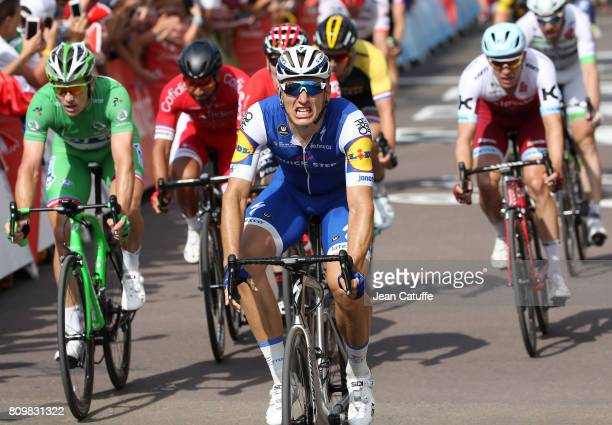 Marcel Kittel of Germany and Quick Step Floors celebrates winning in front of Arnaud Demare of France and FDJ stage 6 of the Tour de France 2017 a...