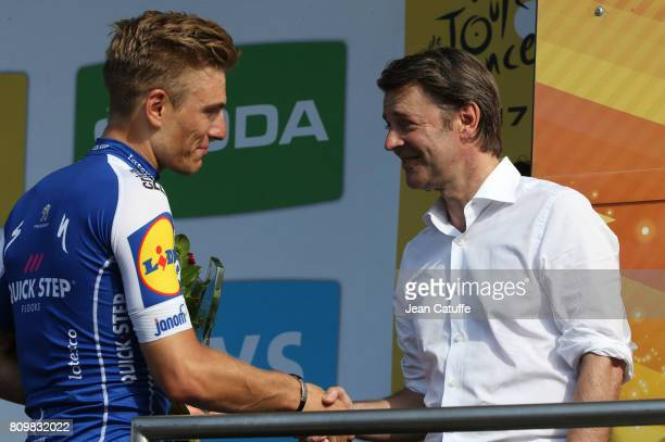 Marcel Kittel of Germany and Quick Step Floors is congratulated by Mayor of Troyes Francois Baroin after winning stage 6 of the Tour de France 2017 a...