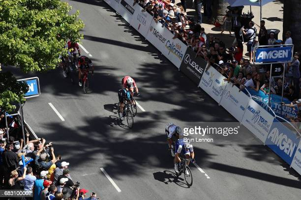Marcel Kittel of Germany and QuickStep Floors leads Peter Sagan to the finish line on his way to winning stage one of the AMGEN Tour of California...