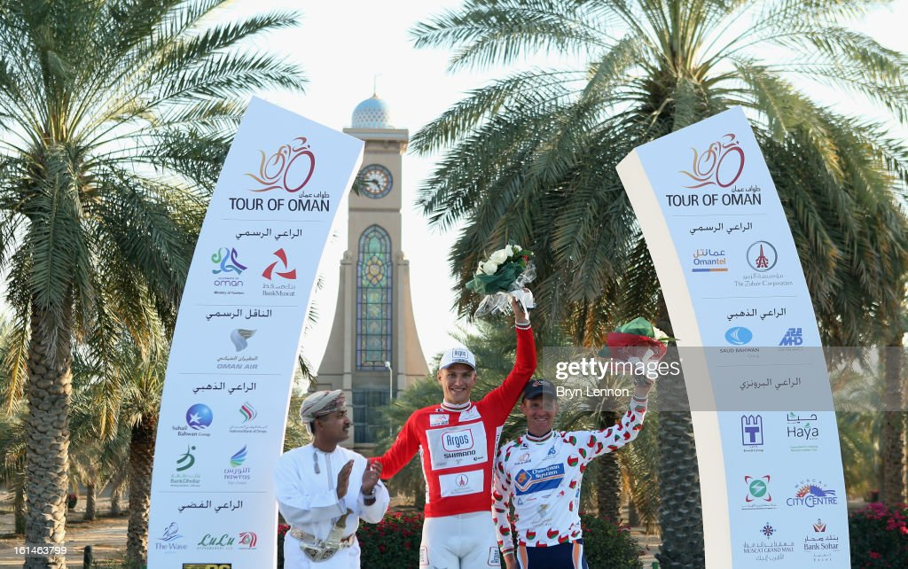 Marcel Kittel of Germany and Team Argos-Shimano and Bobbie Traksel of the Netherlands and Champion Systems after stage one of the 2013 Tour of Oman from Al Musannah to Sultan Qaboos University on February 11, 2013 at Sultan Qaboos University, Oman.