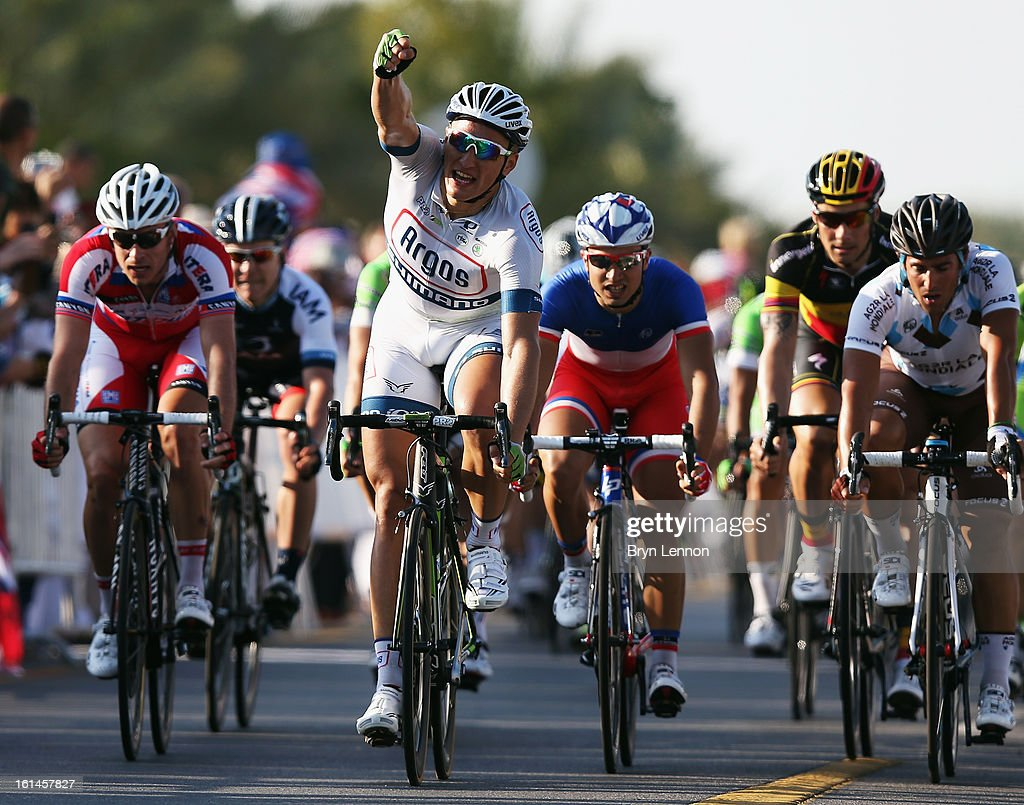 <a gi-track='captionPersonalityLinkClicked' href=/galleries/search?phrase=Marcel+Kittel&family=editorial&specificpeople=4520423 ng-click='$event.stopPropagation()'>Marcel Kittel</a> of Germany and Team Argos-Shimano celebrates winning stage one of the 2013 Tour of Oman from Al Musannah to Sultan Qaboos University on February 11, 2013 in Muscat, Oman.