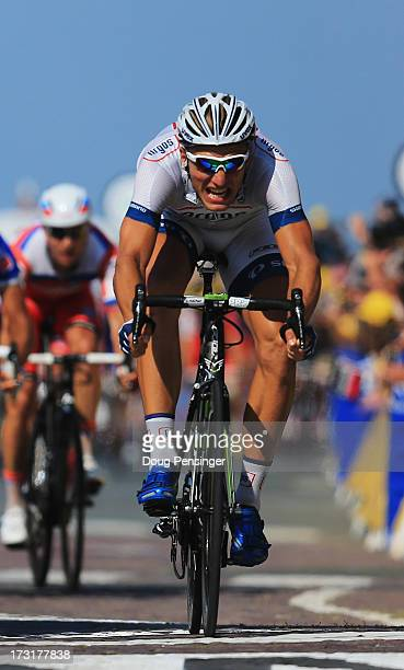 Marcel Kittel of Germany and Team ArgosShimano wins stage ten of the 2013 Tour de France a 197KM road stage from StGildasdesBois to Saint Malo on...
