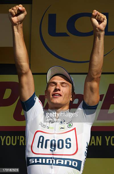 Marcel Kittel of Germany and Team ArgosShimano wins Stage Ten of the Tour de France 2013 the 100th Tour de France a 197 km road stage from...