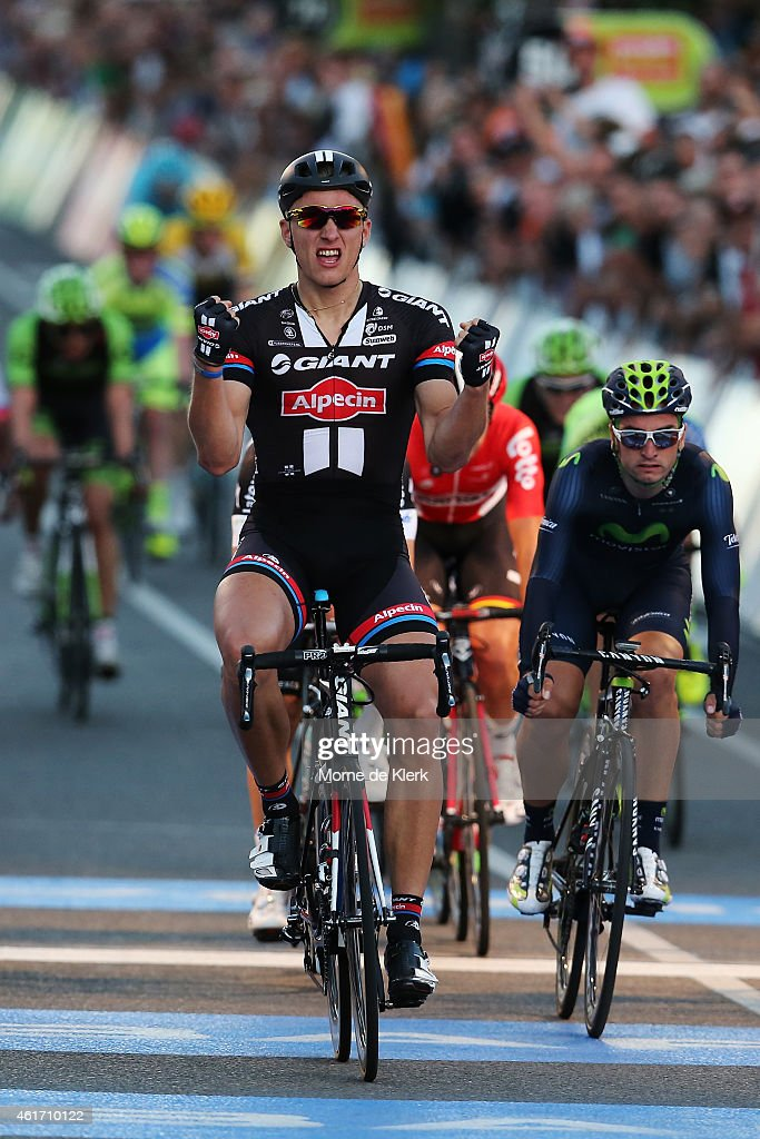 <a gi-track='captionPersonalityLinkClicked' href=/galleries/search?phrase=Marcel+Kittel&family=editorial&specificpeople=4520423 ng-click='$event.stopPropagation()'>Marcel Kittel</a> of Germany and Team Giant - Alpecin celebrates after winnig the People's Choice Classic, a one day event prior to Stage 1 of the 2015 Santos Tour Down Under on January 18, 2015 in Adelaide, Australia.
