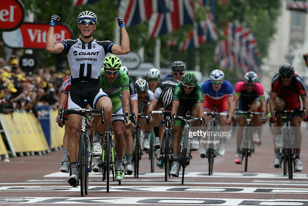 <a gi-track='captionPersonalityLinkClicked' href=/galleries/search?phrase=Marcel+Kittel&family=editorial&specificpeople=4520423 ng-click='$event.stopPropagation()'>Marcel Kittel</a> of Germany and Team Giant-Shimano celebrates as he wins stage three of the 2014 Le Tour de France from Cambridge to London on July 7, 2014 in London, United Kingdom.