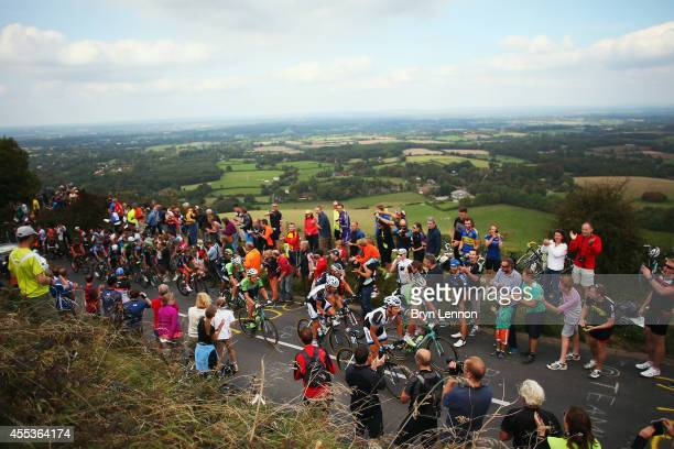 Marcel Kittel of Germany and Team GinatShimano leads a group of riders up Ditchling Beacon during stage seven of the 2014 Tour of Britain from...