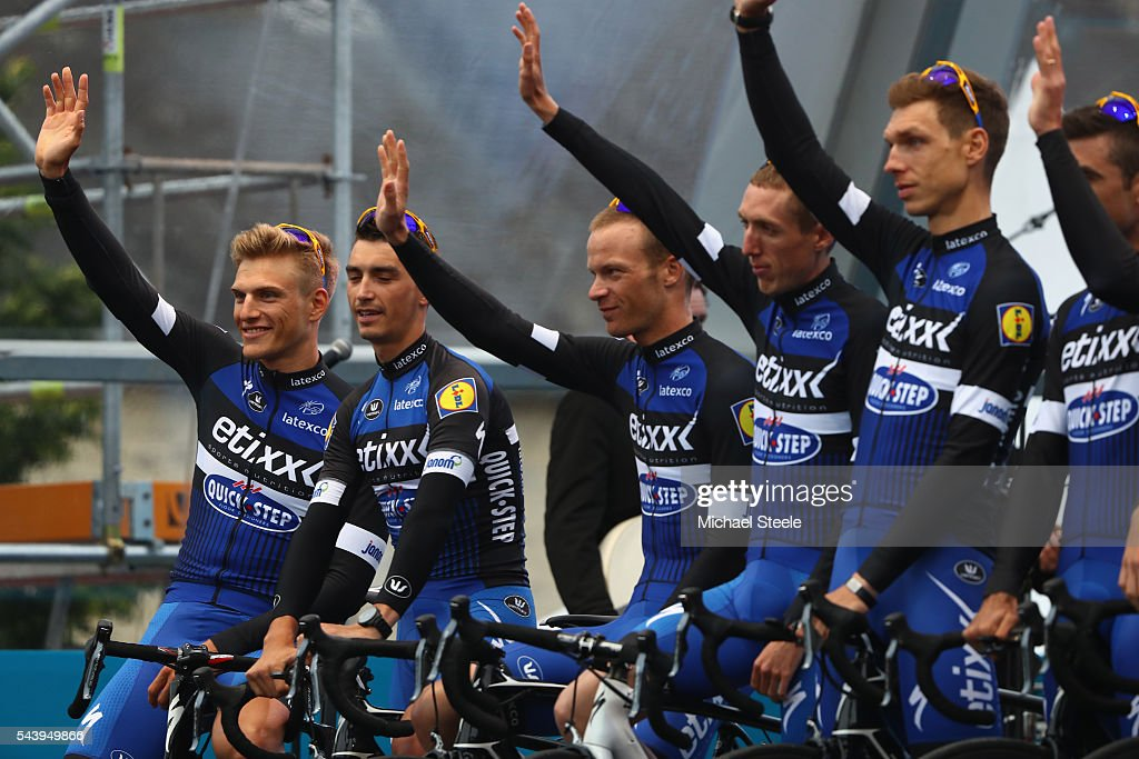 <a gi-track='captionPersonalityLinkClicked' href=/galleries/search?phrase=Marcel+Kittel&family=editorial&specificpeople=4520423 ng-click='$event.stopPropagation()'>Marcel Kittel</a> (L) of Germany and team leader of Etixx Quickstep during the team presentations on June 30, 2016 in Sainte-Mere-Eglise, France.