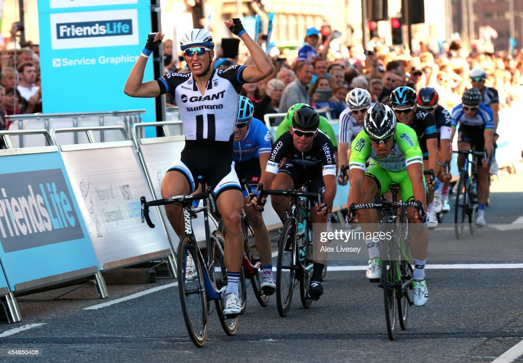 Marcel Kittel of Germany celebrates as he wins stage one of the Tour of Britain in Liverpool City Centre ahead of Nicola Ruffoni of Italy in second...