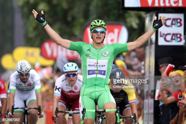 Marcel Kittel of Germany riding for QuickStep Floors celebrates winning stage 10 of the 2017 Le Tour de France a 178km stage from Périgueux to...
