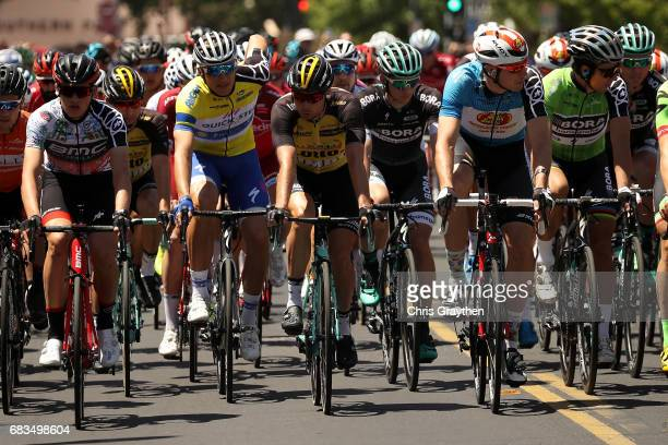 Marcel Kittel of Germany riding for QuickStep Floors in the AMGEN Race Leader's Jersey rides in the peloton during stage two of the AMGEN Tour of...