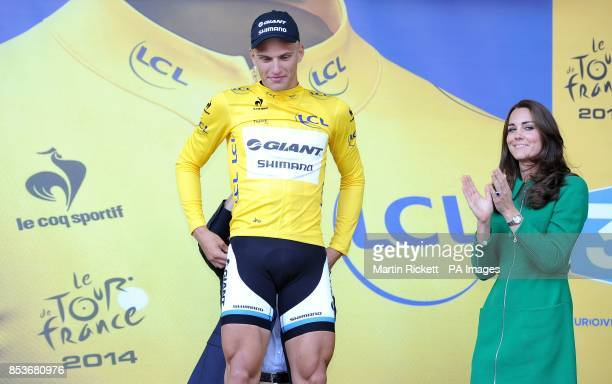 Marcel Kittel of GiantShimano after being presented with his yellow jersey by the Duchess of Cambridge for winning stage one of the Tour de France in...