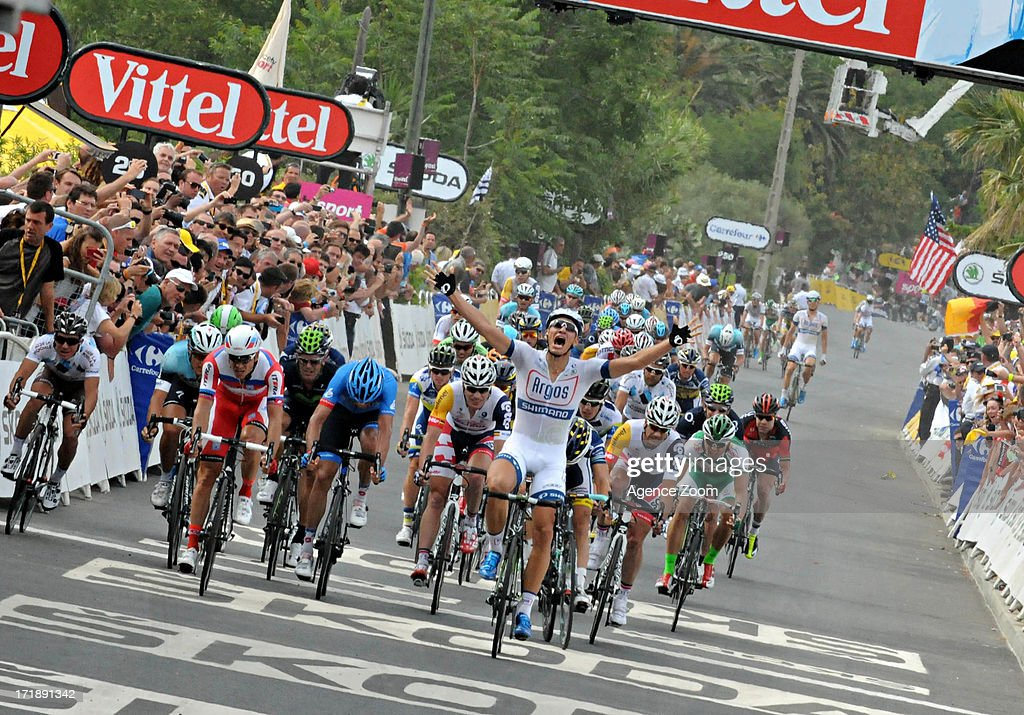 Marcel Kittel of Team Argos-Shimano takes 1st place during Stage 1 of the Tour de France from Porto-Vecchio to Bastia on June 29, 2013 in Bastia, France..