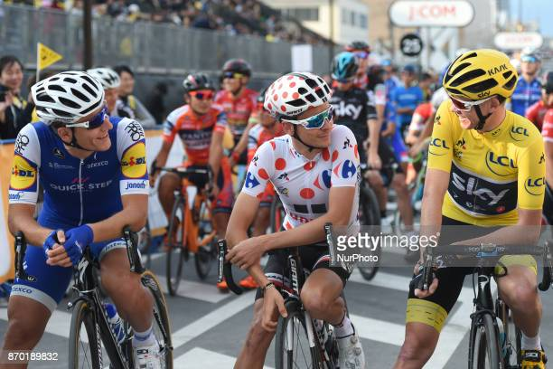 Marcel KITTEL Warren BARGUIL and Christopher FROOME at the start to 589km Main Race during the 5th edition of TDF Saitama Criterium 2017 On Saturday...