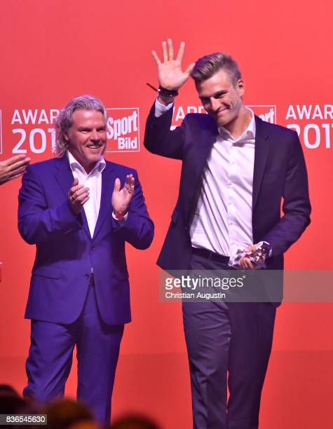 Marcel Kittel wins Surprise of The Year award during the Sport Bild Award at the Fischauktionshalle on August 21 2017 in Hamburg Germany