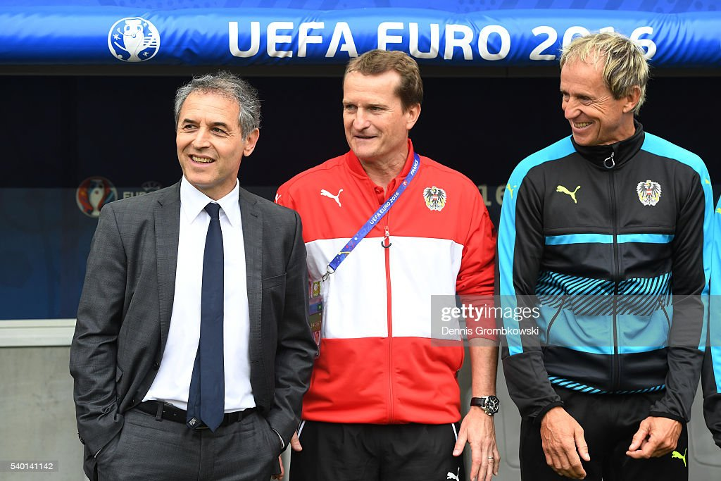 <a gi-track='captionPersonalityLinkClicked' href=/galleries/search?phrase=Marcel+Koller&family=editorial&specificpeople=535663 ng-click='$event.stopPropagation()'>Marcel Koller</a> (L) head coach of Austria, assistant coach Thomas Janeschitz (C) anad goalkeeper coach Klaus Lindenberger (R)are seen prior to the UEFA EURO 2016 Group F match between Austria and Hungary at Stade Matmut Atlantique on June 14, 2016 in Bordeaux, France.