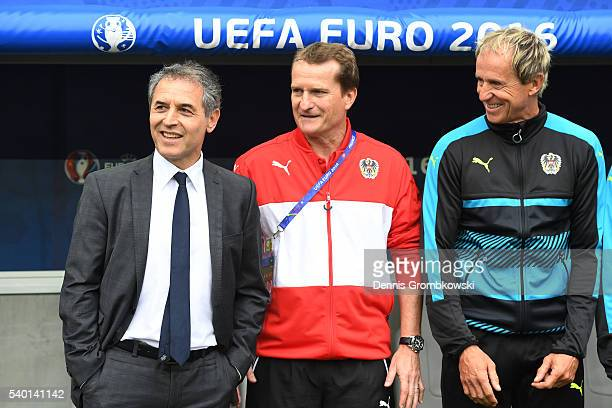 Marcel Koller head coach of Austria assistant coach Thomas Janeschitz anad goalkeeper coach Klaus Lindenberger are seen prior to the UEFA EURO 2016...