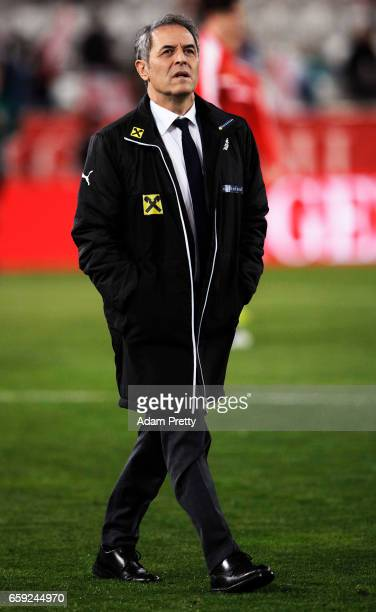 Marcel Koller head coach of Austria during the Austria v Finland International Friendly match at Tivoli Stadium on March 28 2017 in Innsbruck Austria