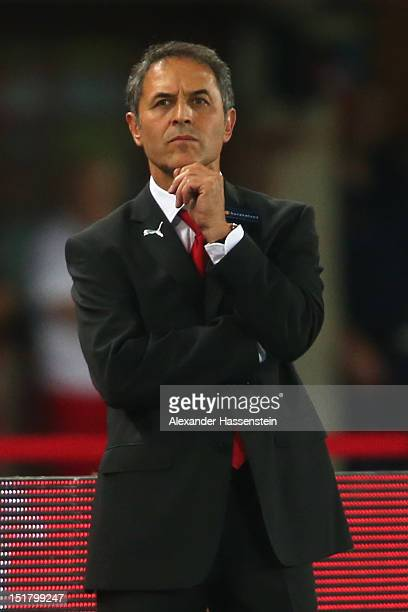 Marcel Koller head coach of Austria looks on during the FIFA 2014 World Cup Qualifier group C match between Austria and Germany at Ernst Happel...