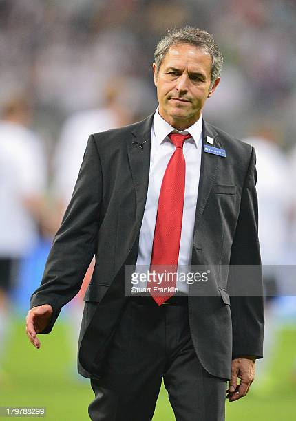 Marcel Koller head coach of Austria looks on during the FIFA 2014 world cup qualifier match between Germany and Austria at the Allianz Arena on...