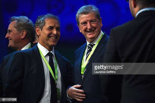 Marcel Koller Manager of Austria and Roy Hodgson Manager of England talk after the UEFA Euro 2016 Final Draw Ceremony at Palais des Congres on...
