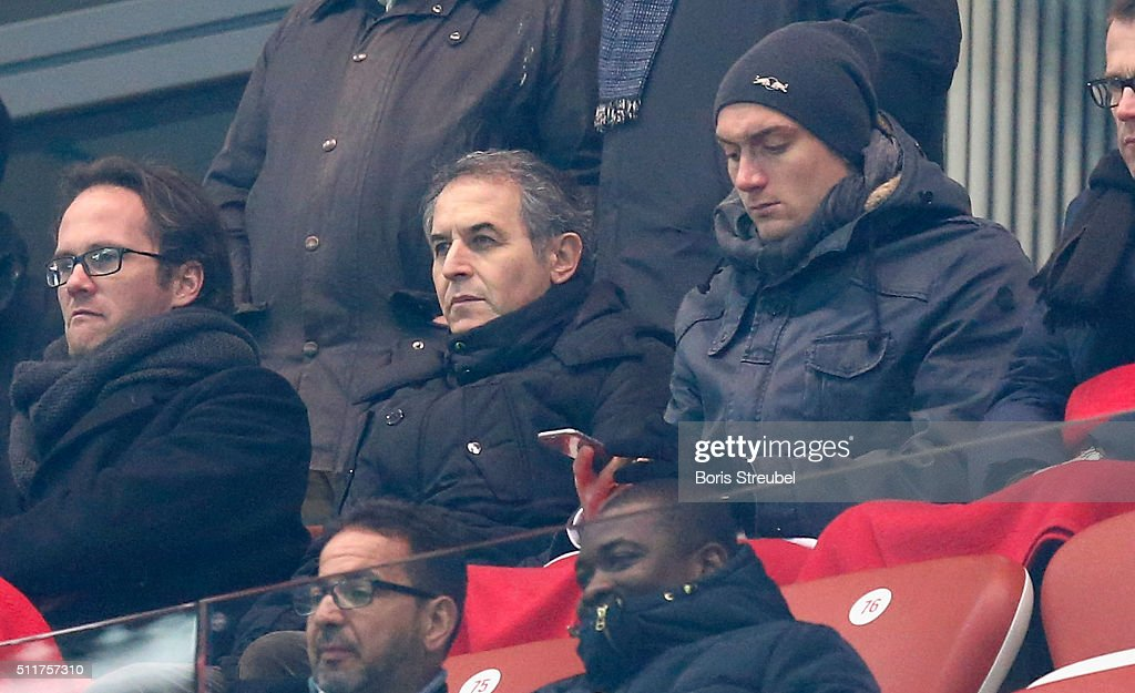 Marcel Koller, national coach of Austria sits on the stands during the Second Bundesliga match between RB Leipzig and 1. FC Union Berlin at Red Bull Arena on February 19, 2016 in Leipzig, Germany.
