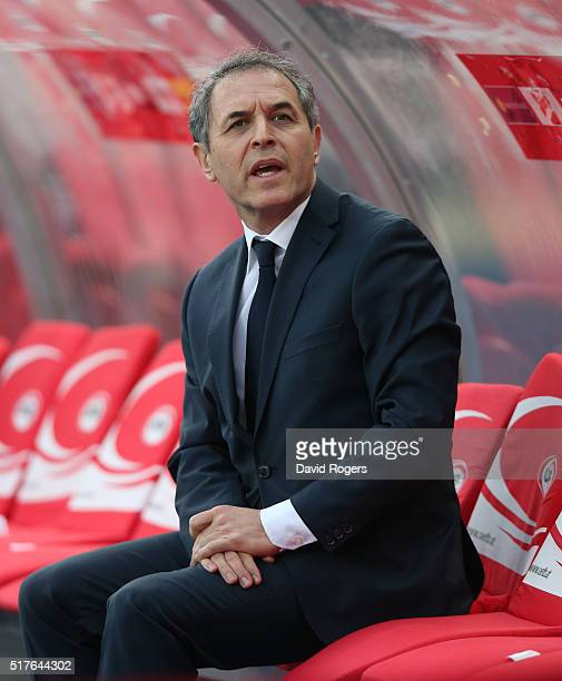Marcel Koller the Austria manager looks on during the international friendly match between Austria and Albania at the ErnstHappelStadion on March 26...