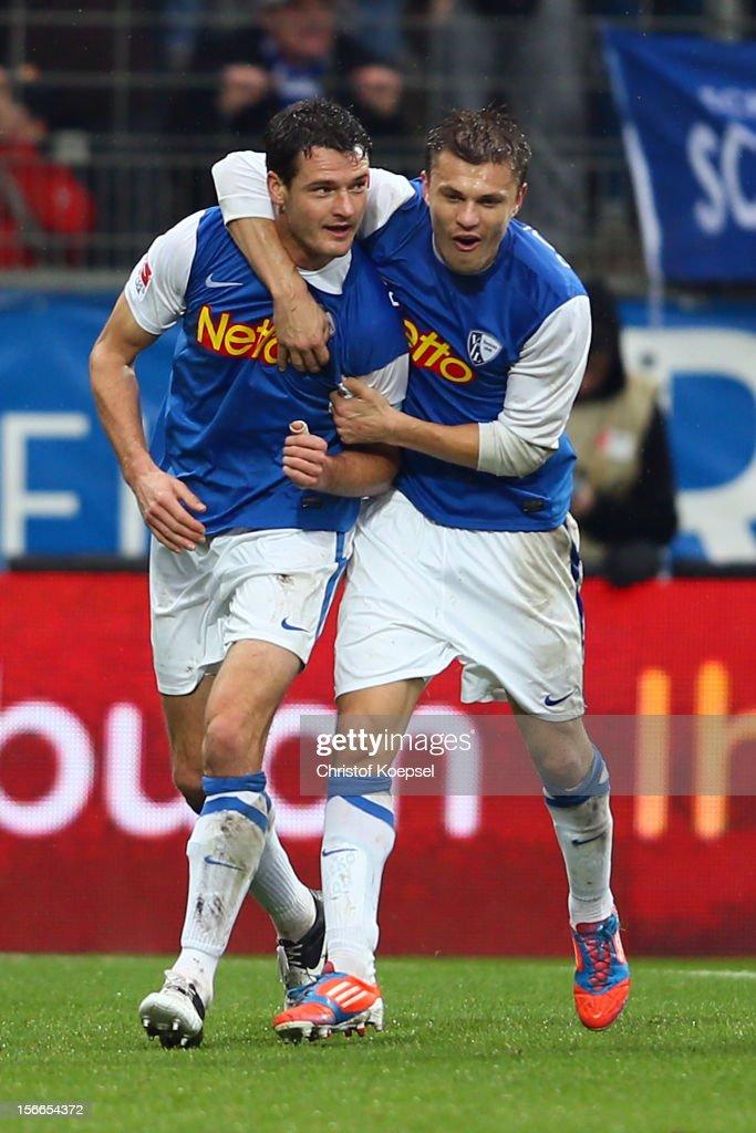 Marcel Maltritz of Bochum celebrates the second goal with Zklatko Dedic during the Second Bundesliga match betweeen VfL Bochum and SV Sandhausen at...