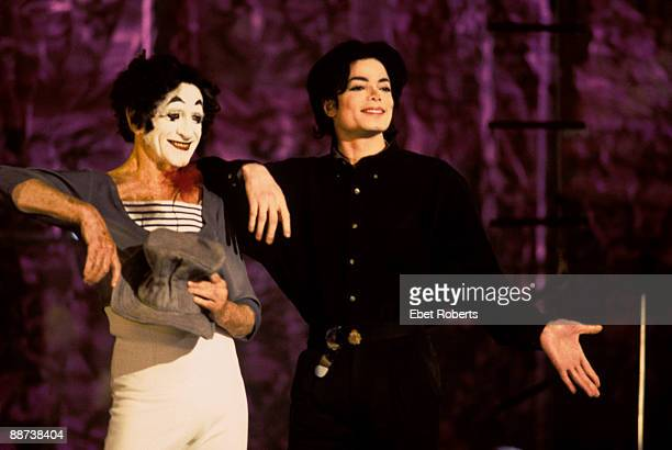Marcel Marceau and Michael Jackson on stage at the Beacon Theater on December 4th 1995 in New York City