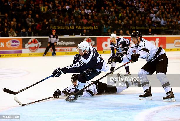 Marcel Müller of Hamburg Freezers battles for the puck with David Steckel of Thomas Sabo Ice Tigers during the DEL game between Hamburg Freezers and...