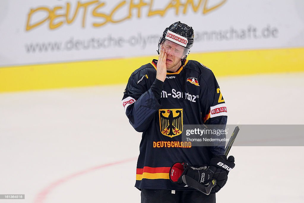 Marcel Mueller of Germany is seen afetr the Olympic Icehockey Qualifier match between Germany and Austria on February 10, 2013 in Bietigheim-Bissingen, Germany.