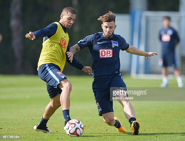 Marcel Ndjeng and Marvin Plattenhardt of Hertha BSC during the training camp at Cornelia Diamond Golf Resort Spa on January 19 2015 in Belek Turkey