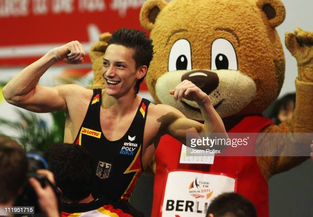 Marcel Nguyen of Germany celebrates after winning the paralle bars event during the European Championships Artistic Gymnastics Men's Apparatus Finals...