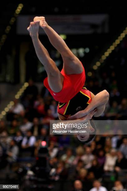 Marcel Nguyen of Germany competes at the floor during the Champions Trophy 2009 at the Porsche Arena on November 15 2009 in Stuttgart Germany