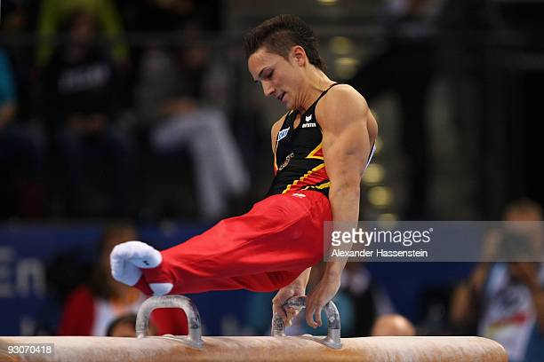 Marcel Nguyen of Germany competes at the pommel horse during the Champions Trophy 2009 at the Porsche Arena on November 15 2009 in Stuttgart Germany
