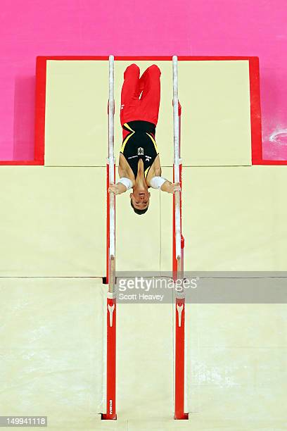 Marcel Nguyen of Germany competes in the Artistic Gymnastics Men's Parallel Bar final on Day 11 of the London 2012 Olympic Games at North Greenwich...