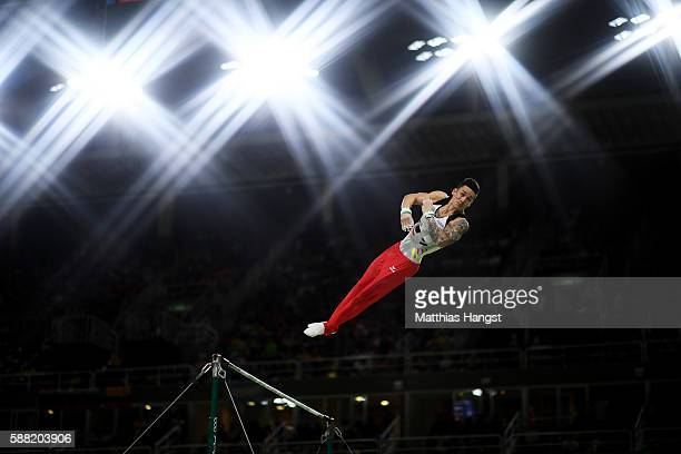 Marcel Nguyen of Germany competes on the horizontal bar during the Men's Individual AllAround final on Day 5 of the Rio 2016 Olympic Games at the Rio...