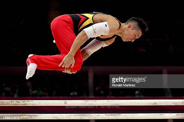 Marcel Nguyen of Germany competes on the parallel bars during the Artistic Gymnastics Men's Parallel Bars final on Day 11 of the London 2012 Olympic...