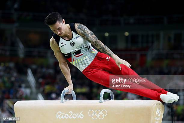 Marcel Nguyen of Germany competes on the pommel horse during the men's team final on Day 3 of the Rio 2016 Olympic Games at the Rio Olympic Arena on...