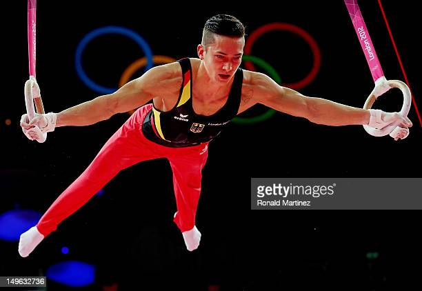 Marcel Nguyen of Germany competes on the rings in the Artistic Gymnastics Men's Individual AllAround final on Day 5 of the London 2012 Olympic Games...