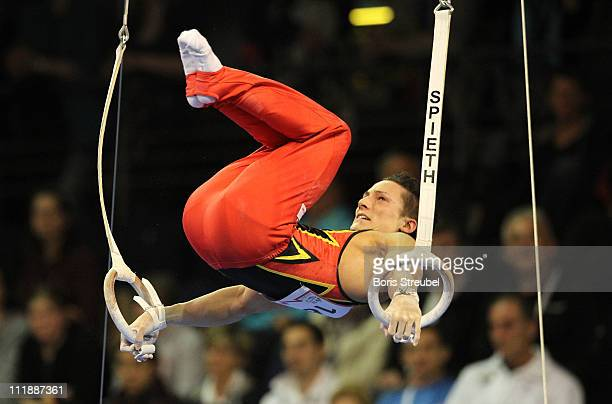 Marcel Nguyen of Germany performs on the rings during the European Championships Artistic Gymnastics Men's Qualification at MaxSchmeling Hall on...