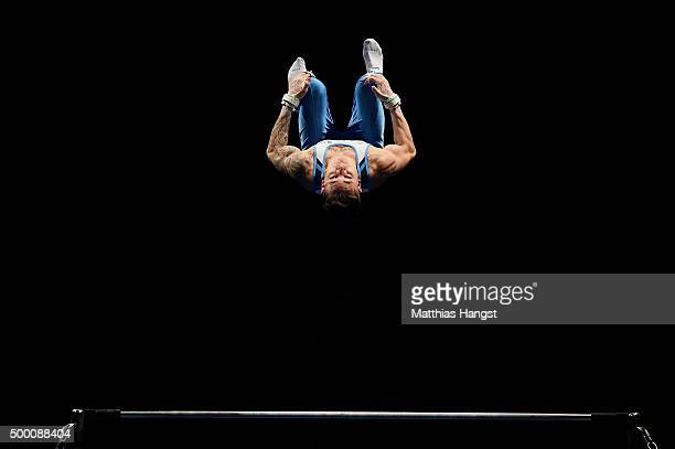 Marcel Nguyen of KTV Straubenhardt competes in the High Bar during the Men's DTL Finals 2015 at Messehalle 2 on December 5 2015 in Karlsruhe Germany