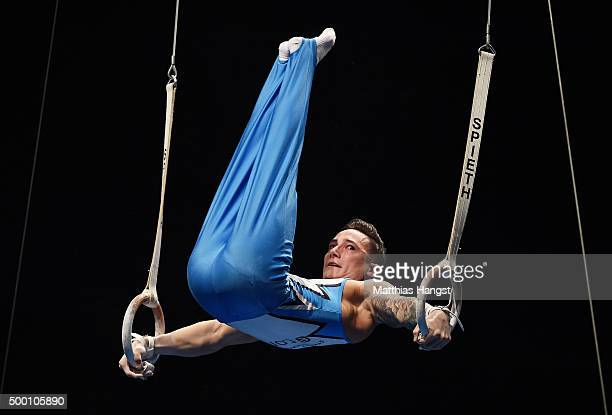 Marcel Nguyen of KTV Straubenhardt competes in the Rings during the DTL Finals 2015 at Messehalle 2 on December 5 2015 in Karlsruhe Germany