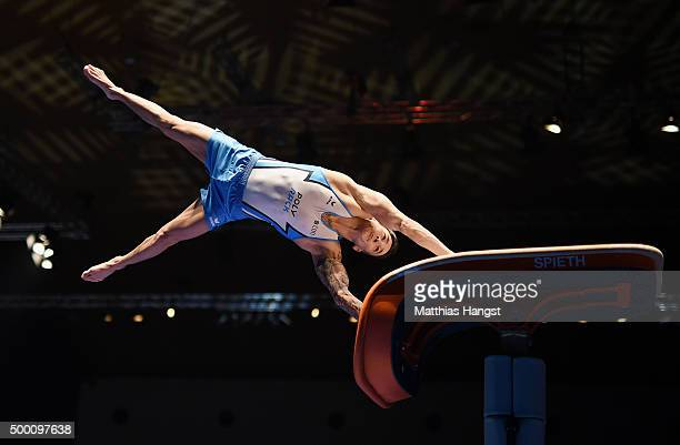 Marcel Nguyen of KTV Straubenhardt competes in the Vault during the DTL Finals 2015 at Messehalle 2 on December 5 2015 in Karlsruhe Germany