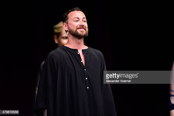 Marcel Ostertag on the runway at the Marcel Ostertag show during the MercedesBenz Fashion Week Berlin Spring/Summer 2016 at Admiralspalast on July 7...
